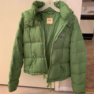 Green puffer coat